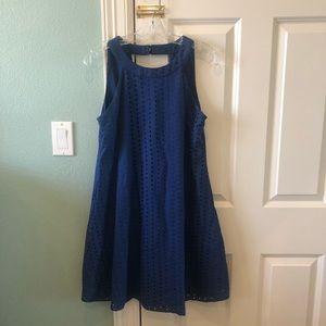 Francesca's Eyelet Navy Blue Tank Shift Dress
